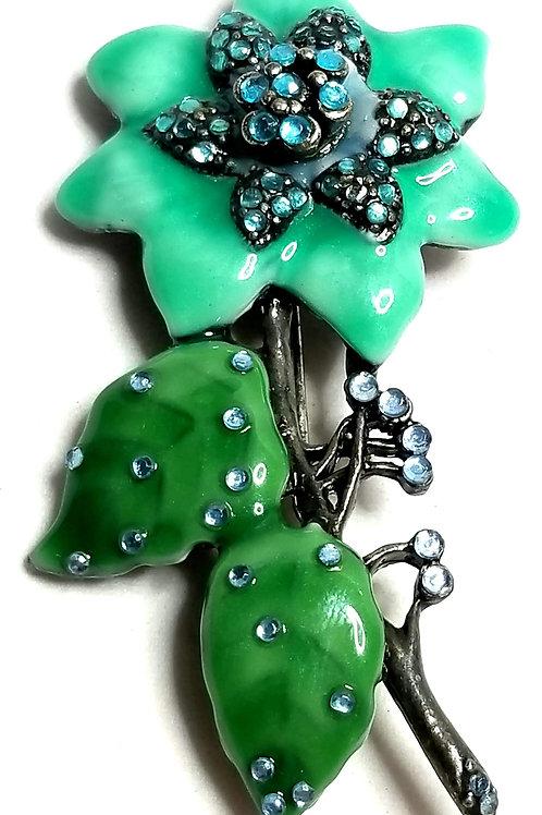 Designer by provenance, brooch, flower motif, multi color in silver tone.