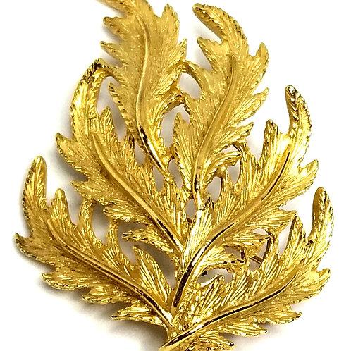 Designer by provenance, brooch, leaf motif, gold tone, 2 1/8 inches.