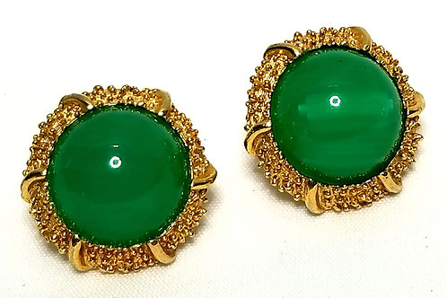 Designer by Crown Trifari, earrings, clip on, green Lucite cabochons,  gold tone