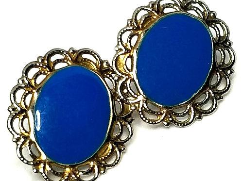 Designer by provenance, earrings, pierced posts, blue oval enamel in silver tone