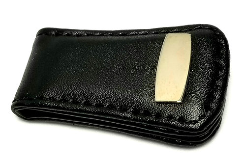Designer by provenance, magnetic money clip, black, faux leather, silver tone.