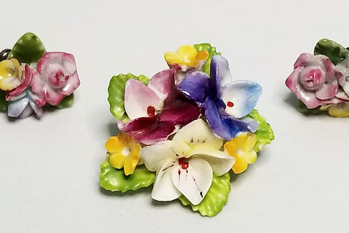 Dorothy Ann, Made in England, set, brooch and screw back earrings, flowers
