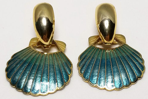 Designer by SG, earrings, seashell motif, blue in gold tone pot metal.
