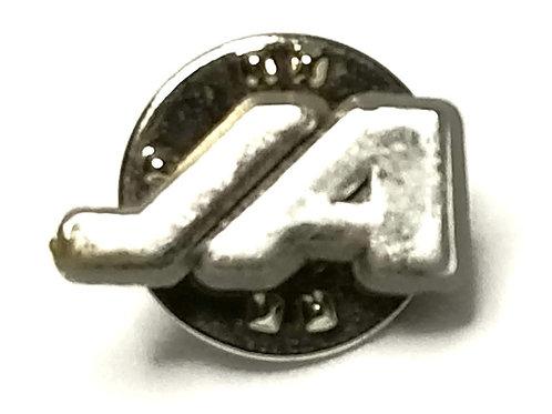 "Designer by provenance, pin, initials motif, ""JA"", silver tone, 5/8 x 1/4 inch."