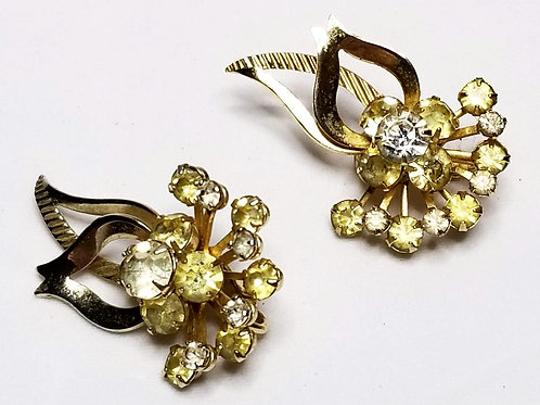 Designer by Sarah Coventry, earrings, clip on, yellow and clear rhinestones.