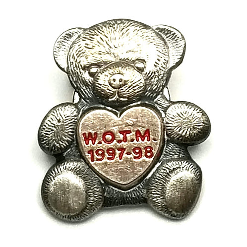 Designer by provenance, pin, teddy bear motif, engraved, silver tone, 1 x 3/4 in
