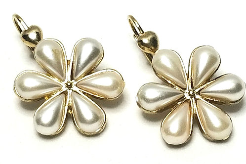 Designer by Two Sisters, earrings, flower motif, white faux pearls in gold tone.