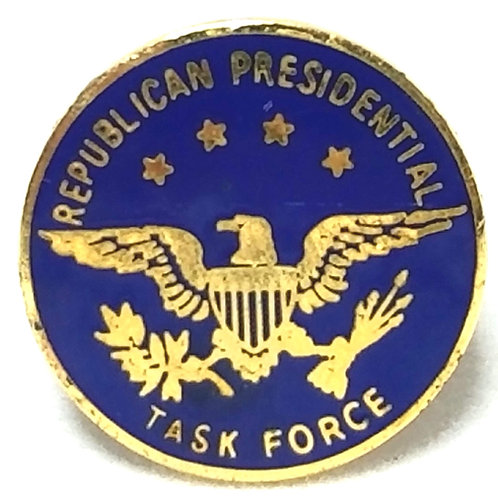 Designer by provenance, pin, Republican Presidential Task Force, blue/gold tone