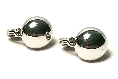 Designer by Monet, earrings, clip on, half round cabochons, silver tone 3/8 inch