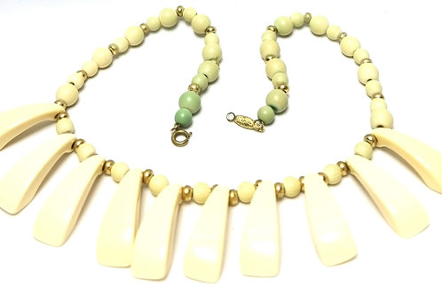 Designer by Napier, necklace, choker, cream Lucite and gold tone beads.