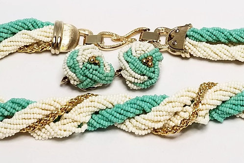 Designer by Marcel Boucher, set, necklace and earrings, turquoise and off white