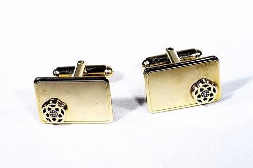 Designer by Anson, cuff links, travel motif, gold tone