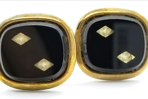 Designer by provenance, cuff links, black inlay with clear rhinestones, goldtone