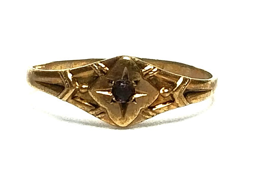 Designer by provenance, ring, baby's ring, purple stone, 10K gold.
