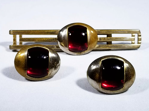 Designer by Anson,  tie tack /cuff links set, red and gold tone