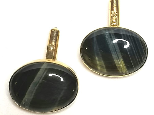 Designer by Destino, cuff links, Labradorite type oval stones, gold tone.