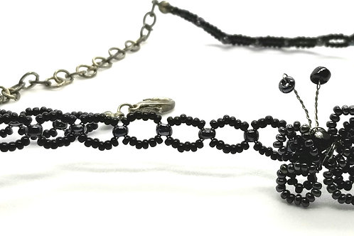 Designer by provenance, necklace, black beads, silver tone, 13 inches.
