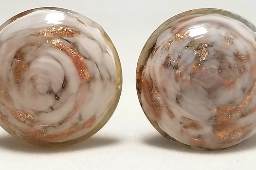 Designer stamped Made Italy, earrings, copper and white swirl clip on 7/8 inch