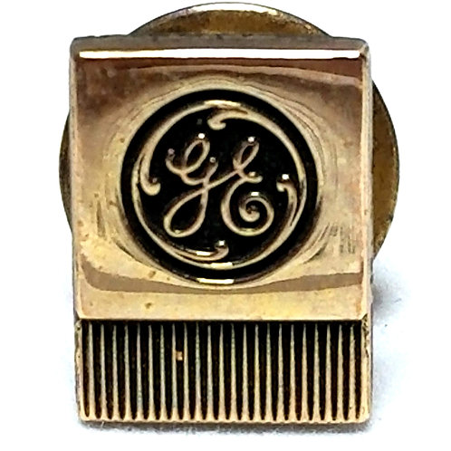 Designer by Anson, tie tack/pin, GE (General Electric) motif, 10K gold filled.