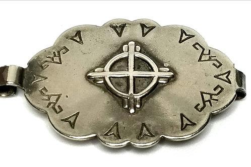 Designer by Fiesta, belt buckle, Southwestern motif, Sterling 925, 1 7/8 x 1 1/8