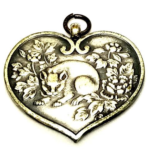 Designer by provenance, charm/pendant, Asian motif, dragon/panda, silver tone.