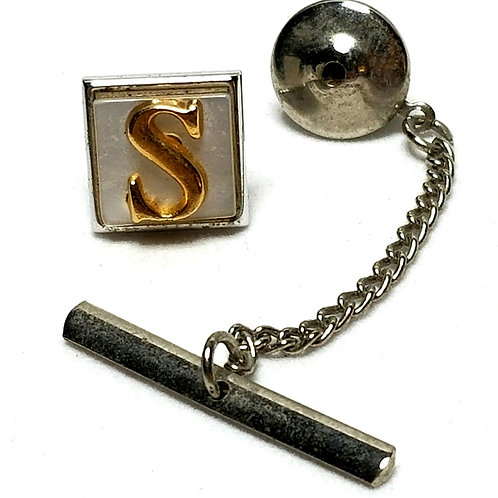 Designer by Swank, tie tack w/chain, letter S motif, MOP look stone, gold tone.