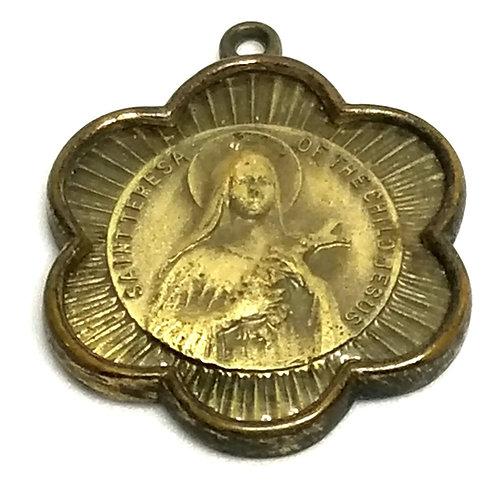 Designer by provenance, pendant, religious St. Teresa motif, gold tone, 3/4 inch