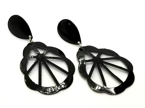Designer by provenance, earrings, pierced, black drops, 2 x 1 1/4 inches.