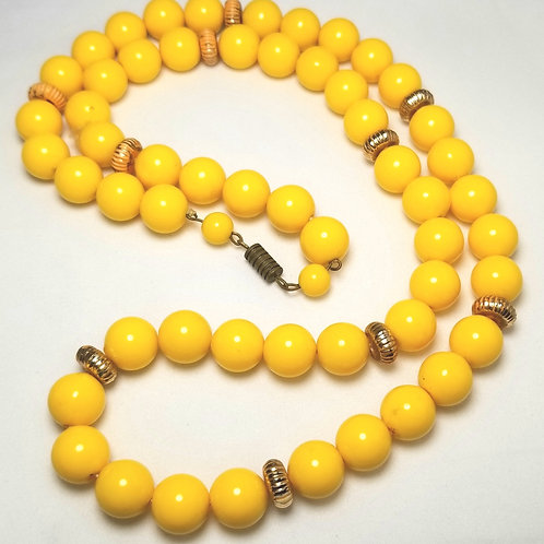 Designer by provenance, neck wear, yellow 29 inch beaded necklace