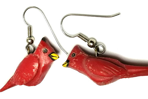 Designer by provenance, earrings, pierced wire drops, Cardinals motif, red.