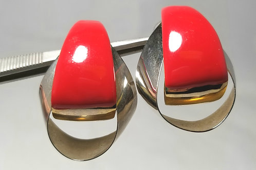 Designer by provenance, red enameled silver tone clutch back earrings