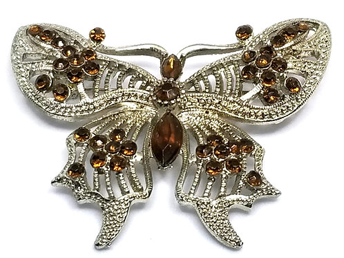 Designer by provenance, brooch, butterfly motif, brown stones, silver to