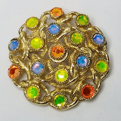 Designer by Sarah Coventry, brooch, multi colored rhinestones, gold tone.