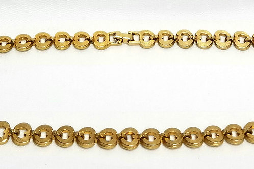 Designer by Coro, necklace, choker, gold tone links with clear rhinestones.