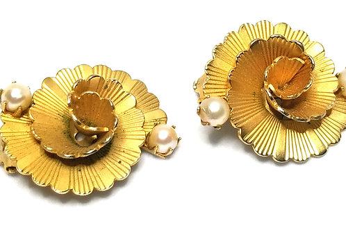 Designer by Kramer, earrings, clip on, flower motif, white faux pearls, gold ton
