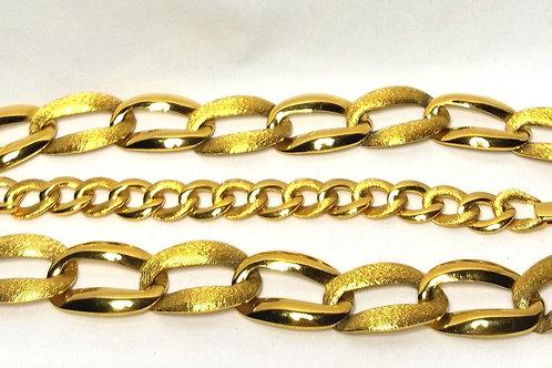 Designer by Napier, set, necklace and bracelet, gold tone links.