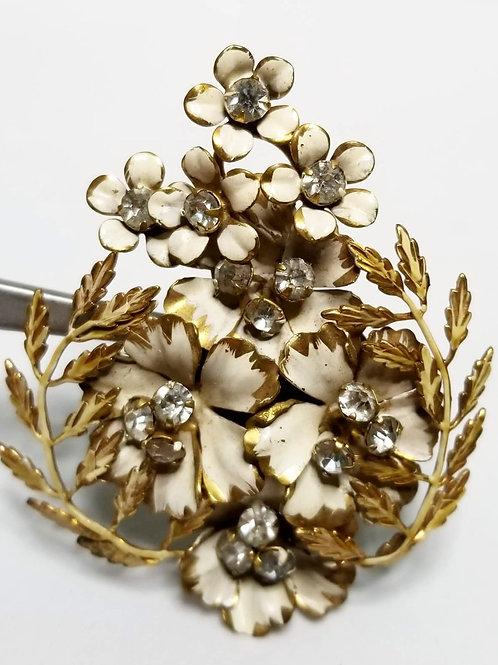 Designer by Sandor, brooch, flower motif, white and gold with rhinestones.