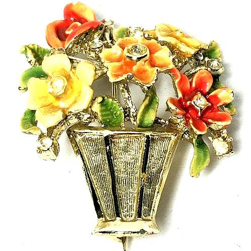 Designer by B.S.K.. brooch, flower motif, multi color enamel in gold tone.
