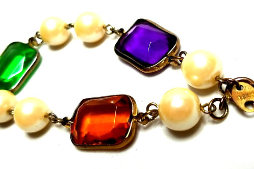 Designer by provenance, bracelet, made in Korea, faux pearls, multi color Lucite