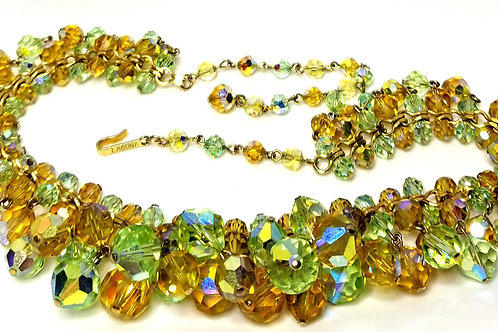 Designer by Laguna, necklace, iridescent green and gold beads in gold tone.
