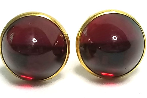 Designer by Correct, cuff links, red round cabochons, gold tone, 1/2 inch.
