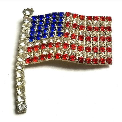 Designer by provenance, brooch, US flag motif, multi color rhinestones.