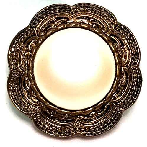 Designer by provenance, button cover, white faux pearl, gold tone, 1 1/8 inch.