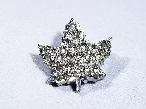 Designer by Anthony, brooch, rhinestone leaf motif, silver tone