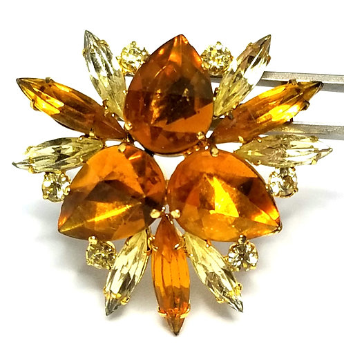 Designer by provenance, brooch, orange and yellow stones, gold tone, 1 2/3 inch