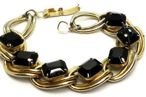 Designer by provenance, bracelet, black cabochons, gold tone, 7 inches.