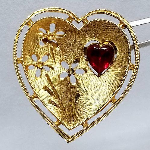 Designer by J.J., brooch, heart motif, brushed gold pot metal and red rhinestone