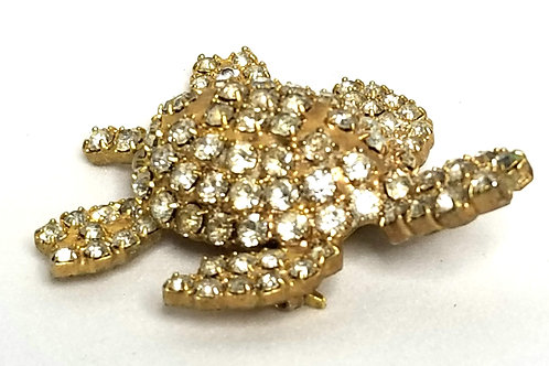 Designer by Provenance, brooch, turtle theme, clear rhinestones in gold tone.