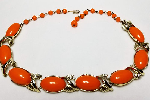 Designer by Coro, necklace, orange cabochons and gold tone links.