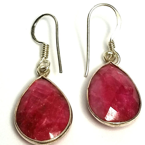 Designer by provenance, earrings, pierced wire drops, pink teardrop stones.